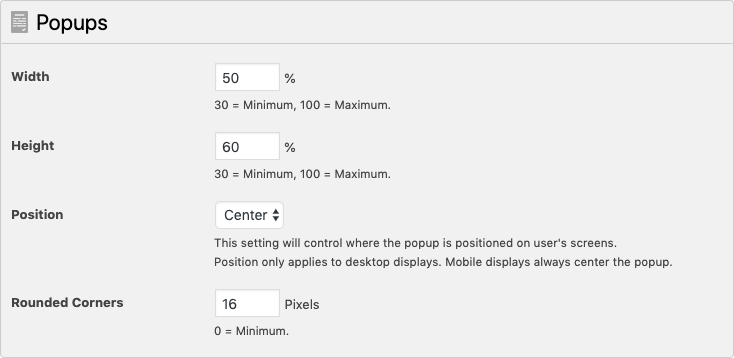 WP Terms Popup Designer Settings - Popups