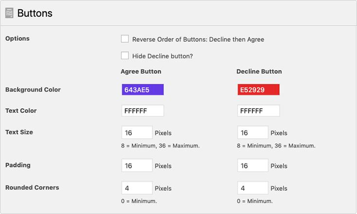Designer Settings - Buttons