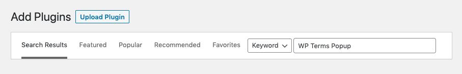 Add Plugin with Search Screenshot