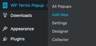 WP Terms Popup Add New Menu Screenshot