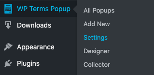 WP Terms Popup Settings Menu Screenshot