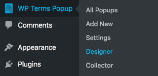Designer Menu Screenshot