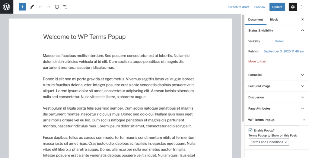 WP Terms Popup and WordPress Post Editor