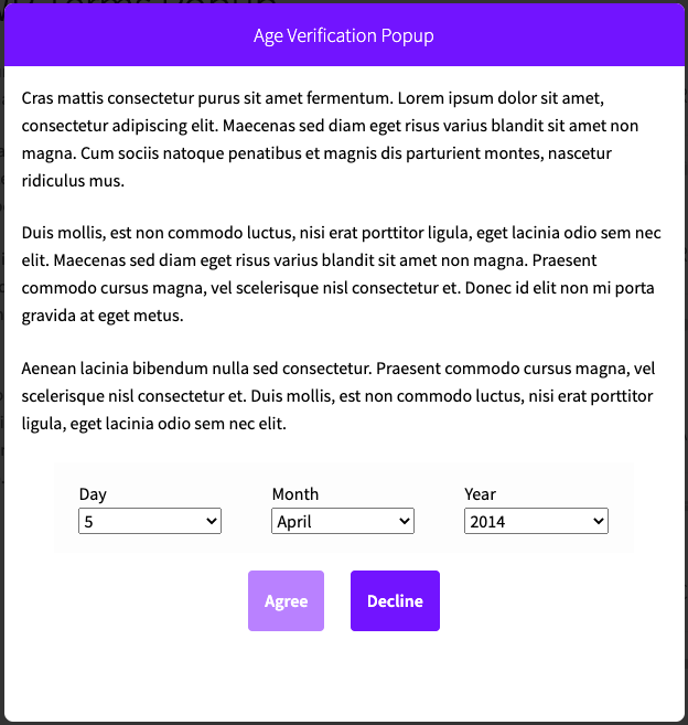 WP Terms Popup Age Verification Example