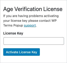 Age Verification License Key Screenshot