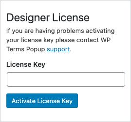 Designer License Key Screenshot
